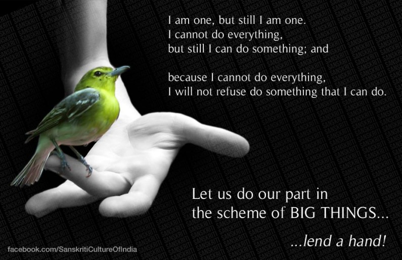 Lend a hand, do your part and what you can