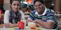Anita Rani in a shopping mall in Mumbai with Adit, who loves eating McDonalds and who, aged 20, weighs 22 stone