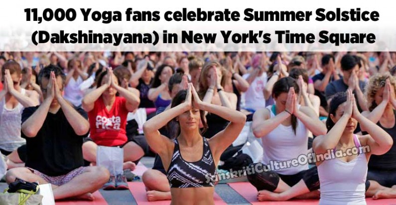 11,000 Yoga fans celebrate Summer Solstice in New York's Time Square