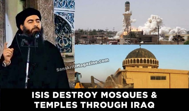 ISIS destroy mosques and temples through Iraq