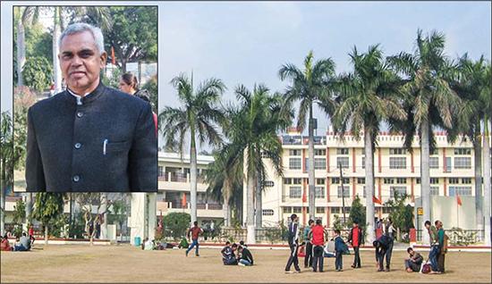 A beautiful campus; (inset) school principal, Acharya Dr. Dev Vrat