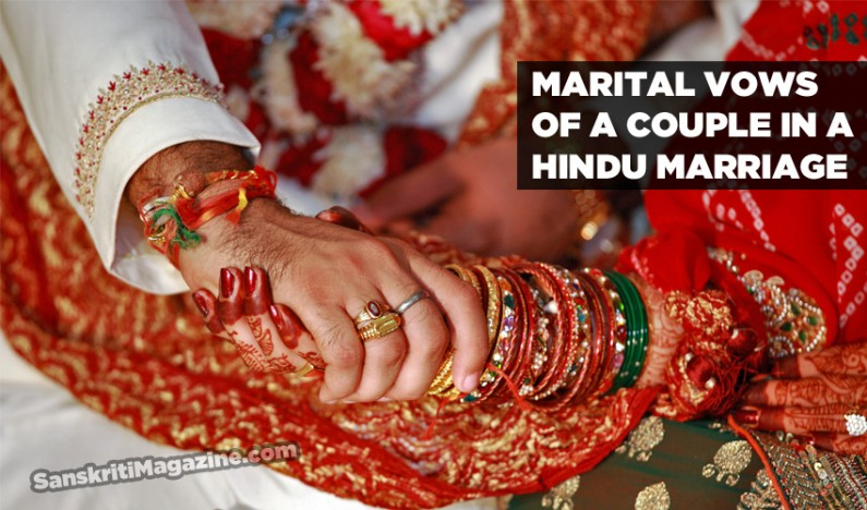 Marital vows of a couple in a Hindu marriage