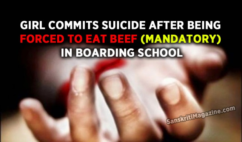 Girl commits suicide after being forced to eat beef (mandatory) in boarding school