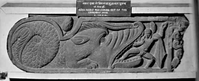 Naga-man emerging from the mouth of a makara