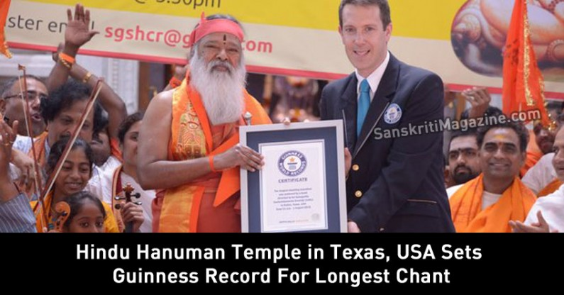 Hindu Hanuman Temple in Texas, USA Sets Guinness Record For Longest Chant