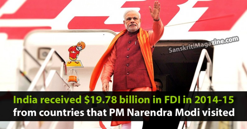 India received $19.78 billion in FDI in 2014-15 from countries that PM Narendra Modi visited