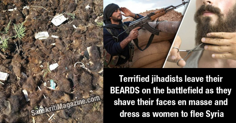 Terrified jihadists leave their BEARDS on the battlefield as they shave their faces en masse and dress as women to flee Syria