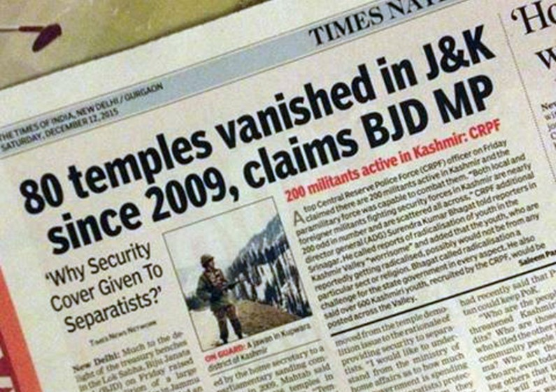 80 temples vanished in J&K since 2009, claims BJD MP