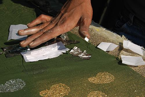 Roghan printing with silver leaf, Ahmedabad, Gujarat, 2012