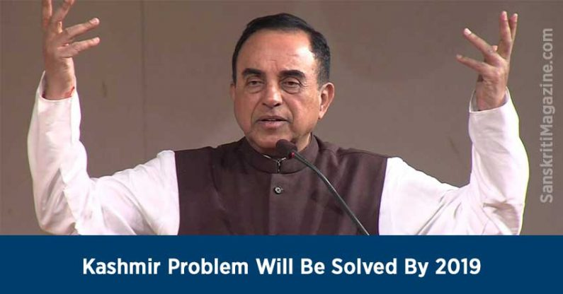 Subramanian Swamy: Kashmir Problem Will Be Solved By 2019
