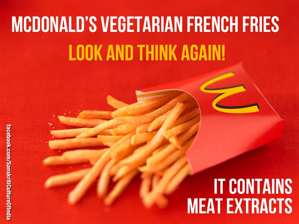 BEEF Extract in McDonald's NOT so VEGETARIAN French Fries!