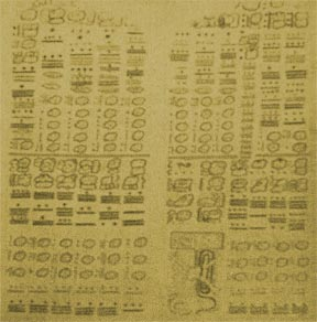 The Dresden Codex, one of the few Mayan hieroglyphic manuscripts that survived the book-burnings by Spanish invaders, documents astronomical calculations of the planed Venus. Large numbers of codices were compiled by the Mayan priests to record religious rites and astronomical facts. (Sachsische Landesbibliothek, Dresden, East Germany.)