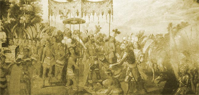 """The meeting (1519) of Hernan Cortes and the Aztec emperor Montezuma II is depicted in this 17th century Spanish painting. (British Embassy, Mexico City). Unfortunately, the American Indians did not survive their cultural exchange with Europe. The Europeans, through book burning and bayonet, successfully """"converted"""" them leaving very little trace of their noble civilization."""