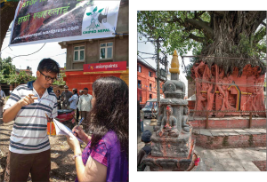 Tree haven: (left) reporter Sally Acharya interviews a protester; (right) a roadside peepal tree shrine in Handi Gaun