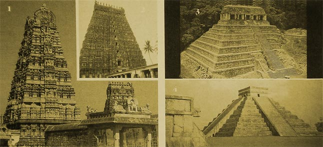 The temples of India (pict. 1-2) are built according to the ancient Vedic architectural science. There are striking similarities between Mayan temples and those in India. Pict. 3-4: Two Mayan temples from Palenque, Mexico and Central America.