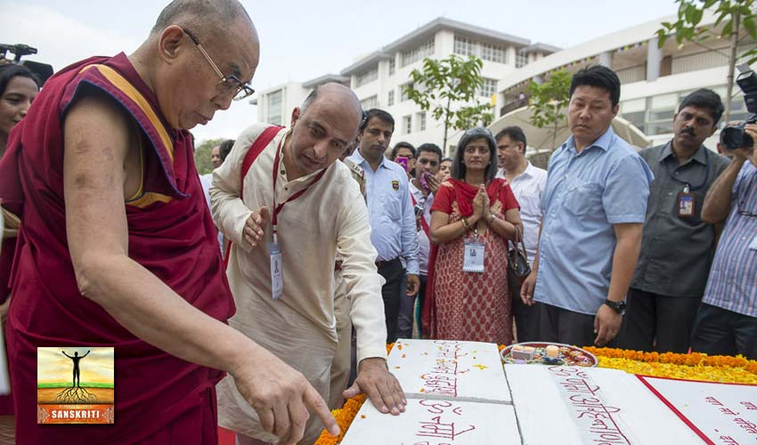 Foudation stone for Sanskrit Centre laid by Dalai Lama