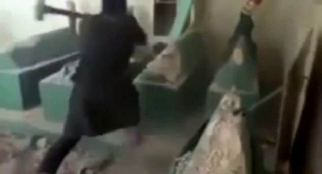 ISIS militants took sledgehammers to Iraqi tombstones