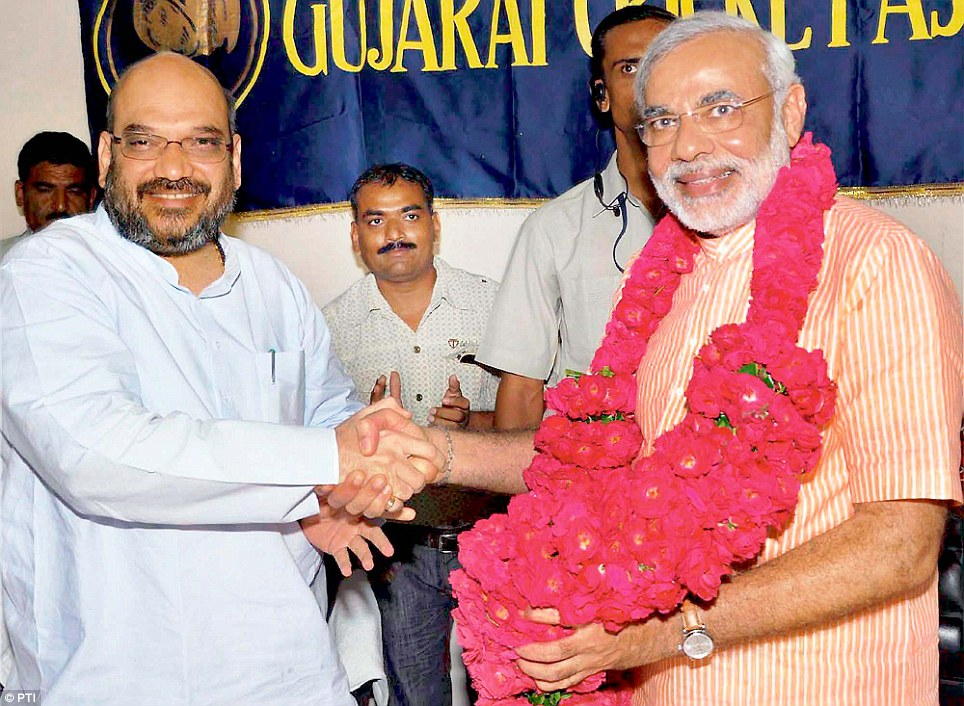 Close: Modi has had a soft spot for Shah since their days as RSS pracharaks in the early 1980s. But, they became closer after Shah's stint in jail for allegedly orchestrating the Sohrabuddin Shaikh fake encounter case.
