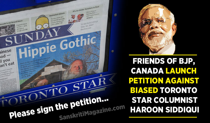 Friends of BJP, Toronto launch petition against biased Toronto Star columnist