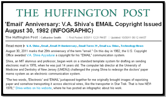 Huffington Post was first to share the Anniversary of Email in 2011.