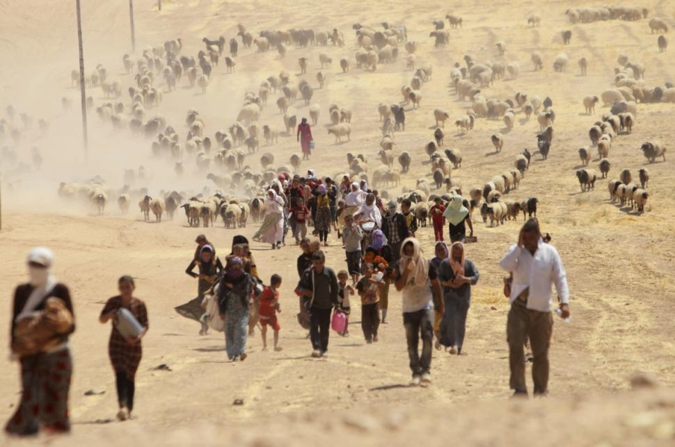 Displaced people from minority Yazidi sect, fleeing violence from forces loyal to Islamic State in Sinjar town, walk towards the Syrian border, on the outskirts of Sinjar mountain.