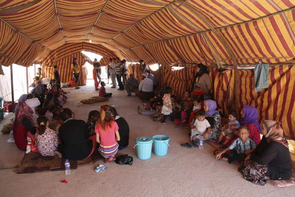 At a temporary refugee camp