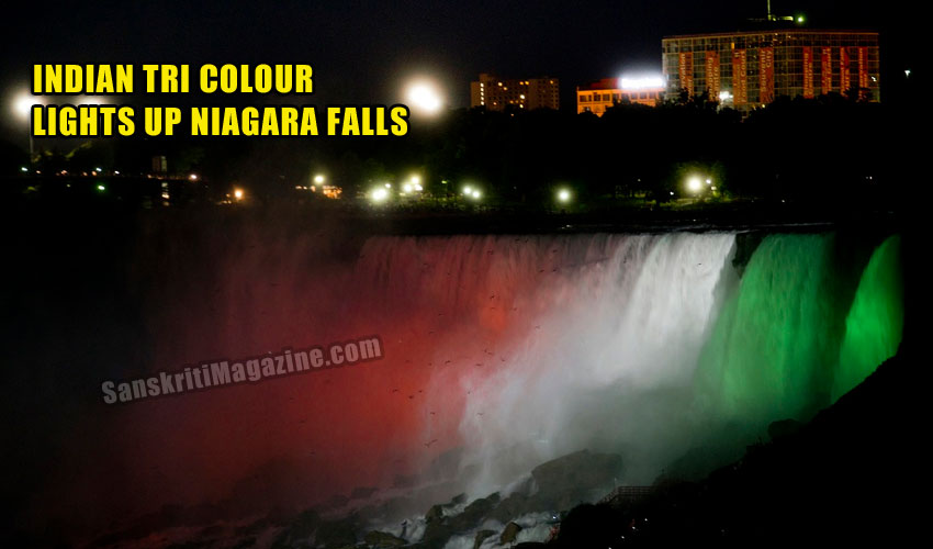 Indian tri colour lights up Niagara Falls