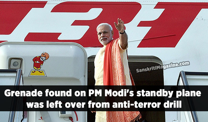 A defused grenade found on Friday night in the business class of an Air India jumbo aircraft kept as standby for Prime Minister Narendra Modi's recent US visit, could have been the remnant of an anti-terror drill.