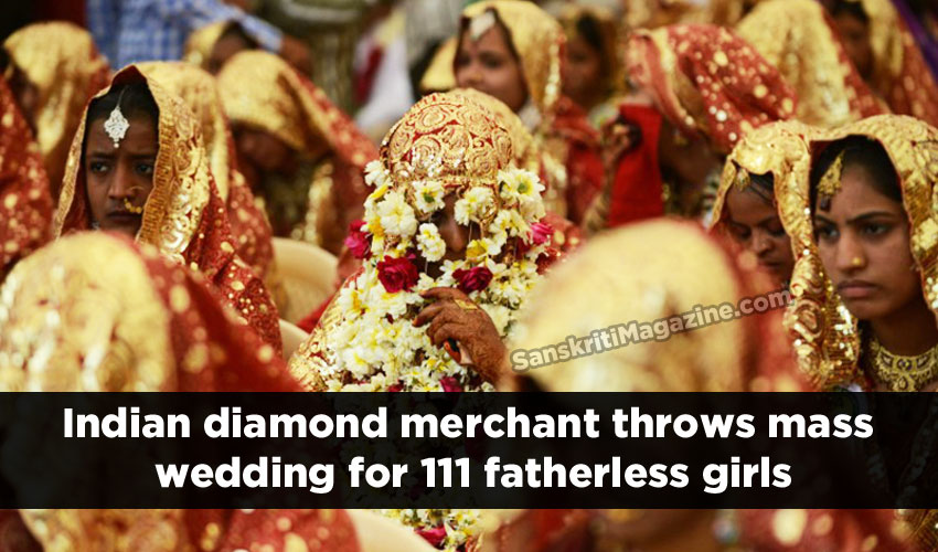 Indian diamond merchant throws mass wedding for 111 fatherless girls