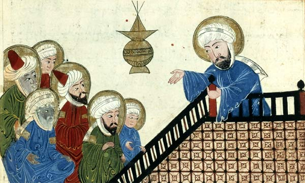 Illustration showing Mohammed (on the right) preaching his final sermon to his earliest converts, on Mount Ararat near Mecca; taken from a medieval-era manuscript of the astronomical treatise The Remaining Signs of Past Centuries by the Persian scholar al-Biruni; currently housed in the collection of the Bibliotheque Nationale, Paris (Manuscrits Arabe 1489 fol. 5v). This scene was popular among medieval Islamic artists, and several nearly identical versions of this drawing (such as this one [shown in detail below] and this one) were made in the Middle Ages.