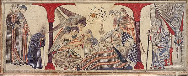 """Mohammed's birth. Miniature illustration on vellum from the book Jami' al-Tawarikh (literally """"Compendium of Chronicles"""" but often referred to as The Universal History or History of the World), by Rashid al-Din, published in Tabriz, Persia, 1307 A.D. Now in the collection of the Edinburgh University Library, Scotland."""