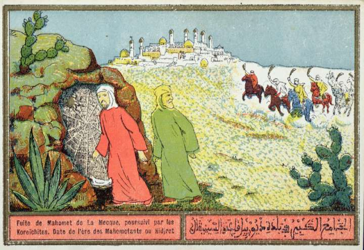 Mohammed's Flight from Mecca in 622 AD; Algerian color postcard from the 1920s or '30s. Mohammed is the figure entering the cave. The original postcard is in a private collection. (Hat tip: Martin H.)