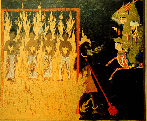 "Mohammed, along with Buraq and Gabriel, visit Hell, and see a demon punishing ""shameless women"" who had exposed their hair to strangers. For this crime of inciting lust in men, the women are strung up by their hair and burned for eternity. Persian, 15th century."