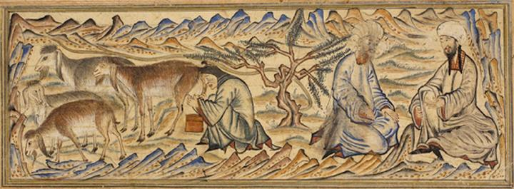 """Mohammed (on the far right) and Abu Bakr on their way to Medina while a woman milks a herd of goats. Miniature illustration on vellum from the book Jami' al-Tawarikh (literally """"Compendium of Chronicles"""" but often referred to as The Universal History or History of the World), by Rashid al-Din, published in Tabriz, Persia, 1307 A.D. Now in the collection of the Edinburgh University Library, Scotland."""