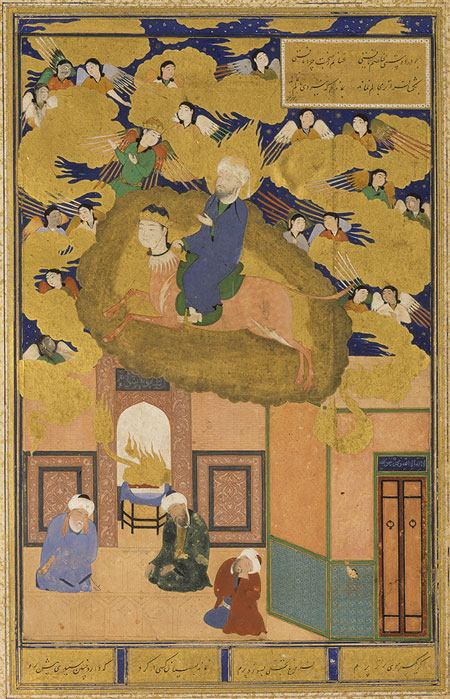 The Night Journey of Muhammad on His Steed, Buraq; leaf from a copy of the Bustan of Sacdi, dated 1514. From Bukhara, Uzbekistan. In The Metropolitan Museum of Art.