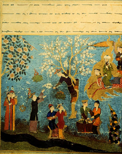 Mohammed, flying over Paradise, looks at the houris harvesting flowers and enjoying themselves. Persian, 15th century.