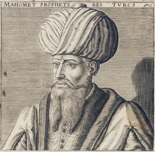 Portrait of Mohammed from Michel Baudier's book Histoire générale de la religion des turcs (Paris, 1625). It was sold at auction by Sotheby's in 2002. The same image was used on the cover of issue #2195 of the French magazine Le Nouvel Observateur.