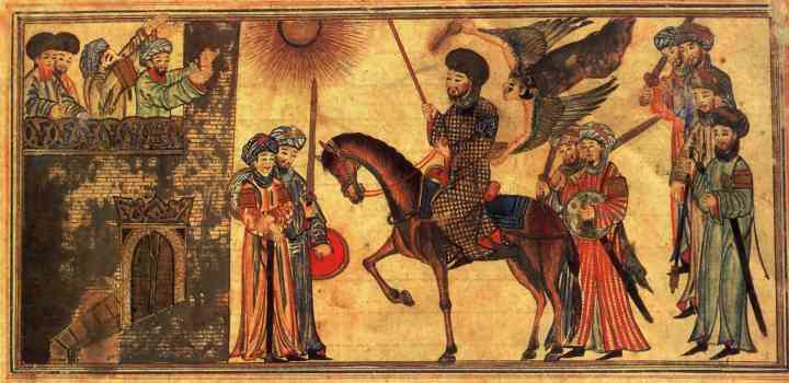 Mohammed (riding the horse) receiving the submission of the Banu Nadir, a Jewish tribe he defeated at Medina. From the Jami'al-Tawarikh, dated 1314-5. In the Nour Foundation's Nasser D. Khalili Collection of Islamic Art, London.