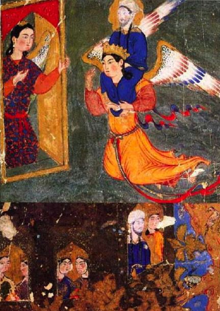 Mohammed borne on Gabriel's shoulders, arriving at the gate of paradise guarded by the angel Ridwan. From the Miraj-name, Tabriz (c. 1360-70). In the Topkapi Palace Library, Istanbul.