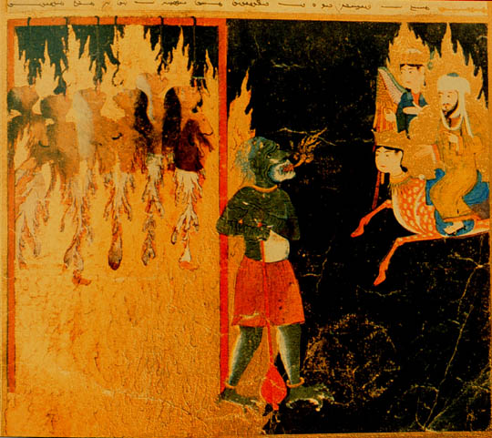 "Next, Mohammed sees women strung up by hooks thrust through their tongues by a green demon. Their crimes were to ""mock"" their husbands and to leave their homes without permission. Persian, 15th century."