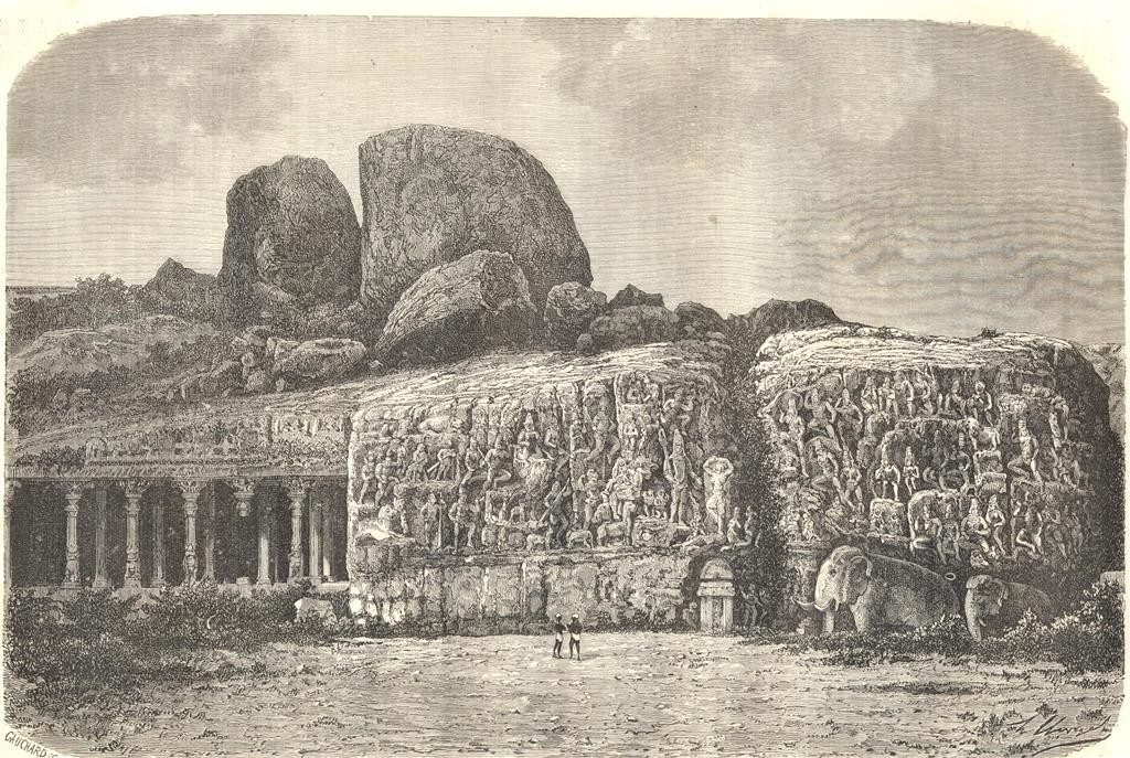Bas-relief on the rocks in Mahabalipour by H. Clerget, from Le Tour du Monde, 1869