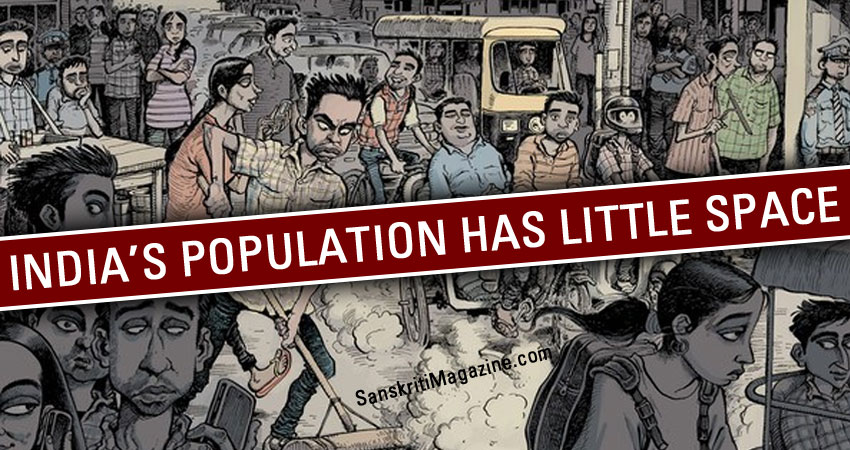 India's population has little space