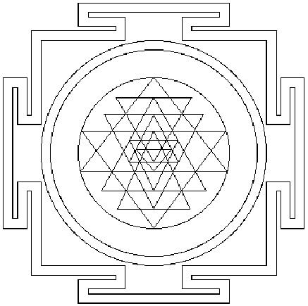 Sri Yantra, which represents the universe recursively