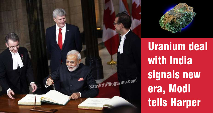 Uranium deal with India signals new era, Modi tells Harper