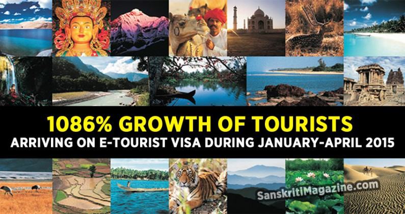 1086% growth of Tourists arriving on e-Visa during Jan-Apr 2015