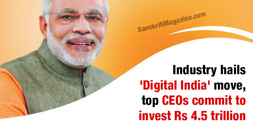 Industry hails 'Digital India' move, top CEOs commit to invest Rs 4.5 trillion Read more at: http://economictimes.indiatimes.com/articleshow/47901803.cms?utm_source=FbM&utm_medium=ETFbMain&utm_campaign=ETFbMain&utm_source=contentofinterest&utm_medium=text&utm_campaign=cppst