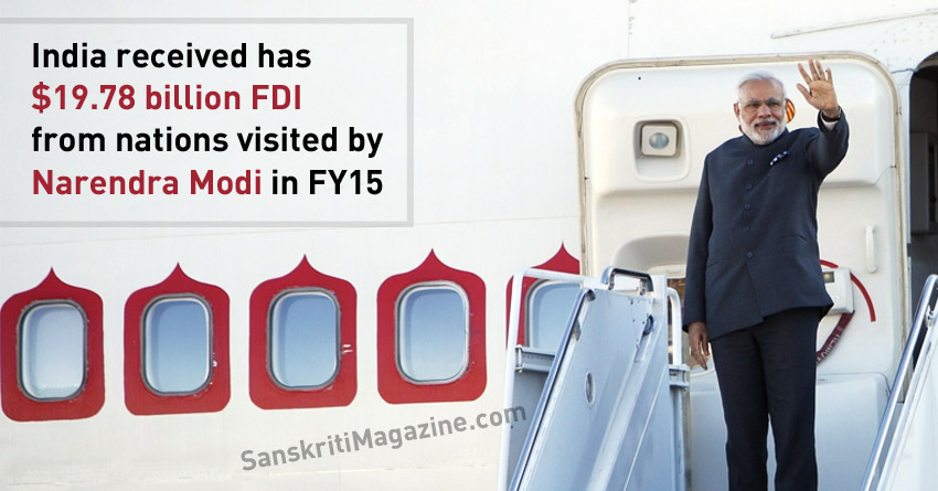 India received $19.78 billion FDI from nations visited by Narendra Modi in FY15