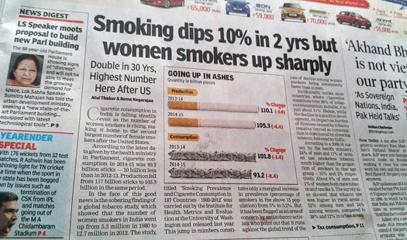 Indian women are now second largest smokers in world after US