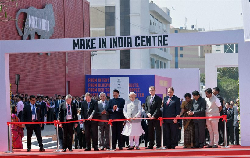 Mumbai: Prime Minister Narendra Modi with Sweden PM Stefan Lofven, Finland PM Juha Sipila and Poland Deputy PM Piotr Glinski inaugurate the 'Make in India Week' in Mumbai on Saturday. PTI Photo by Santosh Hirlekar(PTI2_13_2016_000072B)