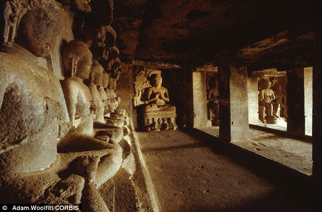 A mixture of hemp, clay and lime plaster is responsible for preserving paintings and intricately carved scenes in the Ellora Caves (Cave 12 is shown) which was hewn from rock 1,500 years ago Read more: http://www.dailymail.co.uk/sciencetech/article-3487558/Holy-smokes-CANNABIS-preserved-ancient-Indian-artwork-sacred-Ellora-Caves-1-500-years.html#ixzz45IE9LLJI Follow us: @MailOnline on Twitter | DailyMail on Facebook